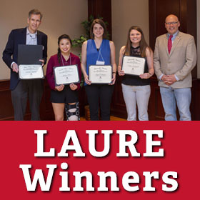 The four student winners of the Miami University Libraries' Award for Undergraduate Research Excellence (LAURE) were announced Wednesday, April 25 during the Undergraduate Research Forum.