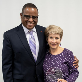 Susan Hurst poses with Dean Conley for a photo
