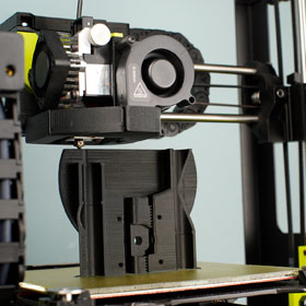 A 3D printer in the new Makerspace in King Library is pictured